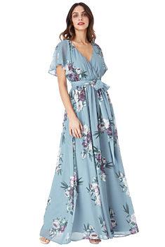 -35% Modré dlouhé šaty s květy City Goddess Chirine 9135866c0c
