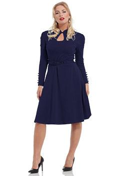 39480bd115c6 Tmavě modré šaty s dlouhým rukávem Voodoo Vixen Dita