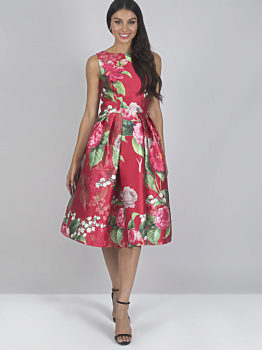 Společenské červené šaty s pivoňkami Chi Chi London Karlene c043f63bab