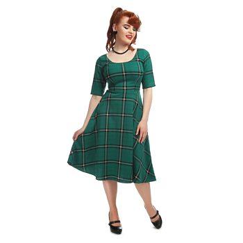 ea06023b25e Zelené kostkované šaty Collectif Irma