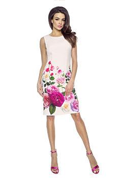 Béžové pouzdrové šaty s květy Kartes Edita b1f2edb861