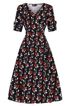 649f104e52d Novinka Černé šaty s červenými růžemi Lady V London Estella