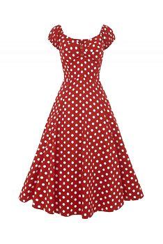 Červené šaty s puntíky a sukní Collectif Dolores ebb472a975