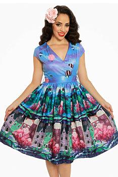 e6688663be9a Fialovo modré šaty s motivem města Lindy Bop Dawn