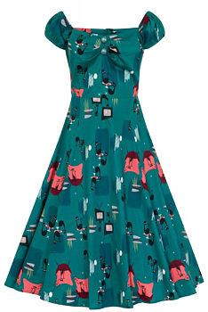 a9c0f5c2f8a1 Tyrkysové šaty s kočkami Collectif Dolores