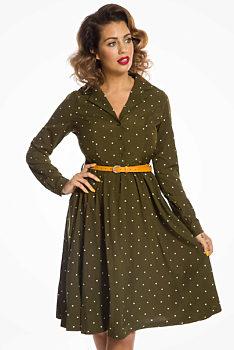 dd1ca112ce8a Zelené šaty s bílými puntíky Lindy Bop Perrie