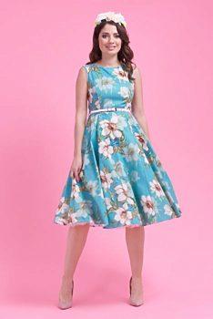 697303d09390 Novinka Zelené šaty s velkými květy Lady V London Audrey