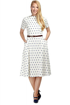e220556314db Bílé šaty s modrými puntíky Collectif Abby