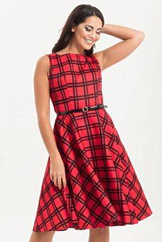 cd37ffedc5e Červeno černé kostkované šaty Voodoo Vixen Sonia