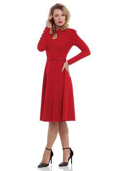 40b5309ba9c Červené šaty s dlouhým rukávem Voodoo Vixen Dita