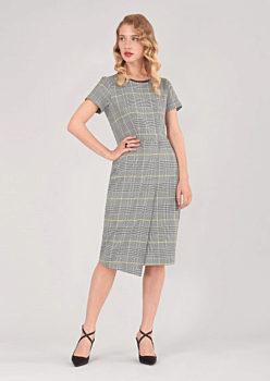Kostkované šaty s rozparkem Closet Dora bcd65fcb91