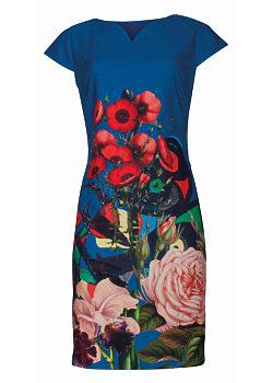 e15a5cb6407 -5% Modré šaty s potiskem máků a růží Smashed Lemon Walida