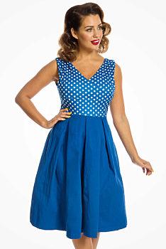 de4d4e7fb44c -16% Modré šaty s puntíky na živůtku Lindy Bop Valerie
