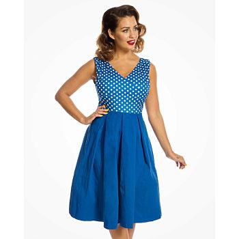 -16% Modré šaty s puntíky na živůtku Lindy Bop Valerie b5d205178c