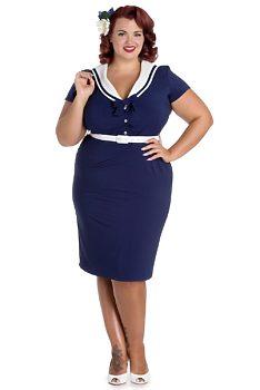 Námořnické modré šaty Hell Bunny Hana e18ad0f9c7