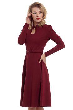 bcf9c57917cb Vínové šaty s dlouhým rukávem Voodoo Vixen Dita