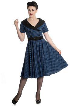 39f7345bba3 Černo modré kostkované šaty Hell Bunny Claudia