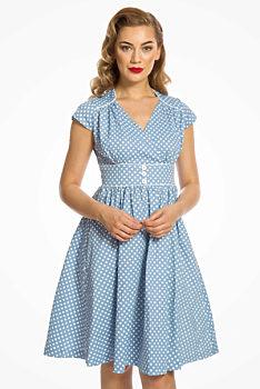 4b22cff53 Světle modré šaty s bílými puntíky Lindy Bop Polly