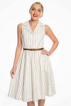 618b19aec85c Letní šaty s béžovými proužky Lindy Bop Matilda