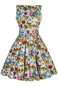 -35% Barevné šaty s motýlky a květinami Lady V London Tea c123a1e864