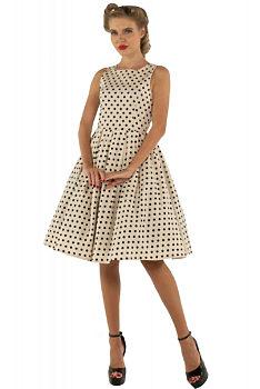 28a1e129837a Béžové šaty s černými puntíky Dolly and Dotty Annie