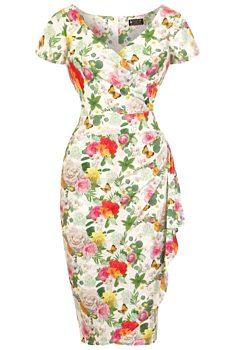 5c63e26a094 Bílé šaty s květy a motýly Lady V London Elsie