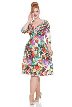 Bílé šaty s květy Voodoo Vixen Judy 7329907b97