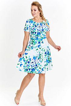 bbe0fce23 Bílé šaty s modrými květy Milano Moda Feiko