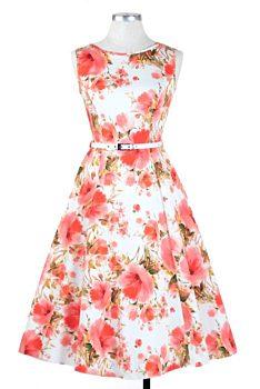 d42a3c41ed78 Novinka Bílé šaty s růžovými vlčími máky Lady V London Audrey