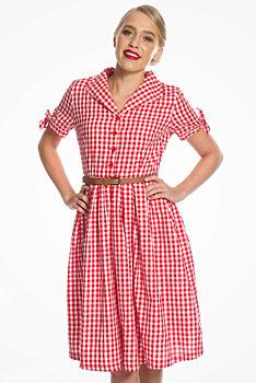 94693b5b7928 Červenobílé šaty s kostičkou Lindy Bop Claudine