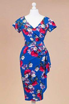0b7f3170a9b5 Novinka Modré šaty s barevnými květy Lady V London Elsie