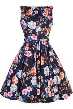 5f33590d2411 Modré retro šaty s karafiáty Lady V London Tea