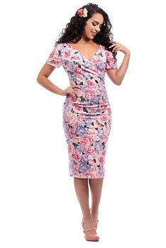 044e7c9b342d Růžové pouzdrové šaty s růžemi Collectif Coleen