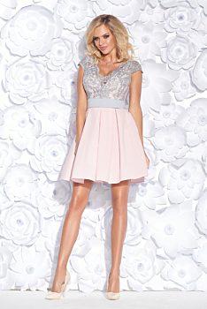 1b5b75282 Novinka Růžové společenské šaty s šedou krajkou Bicotone Mette