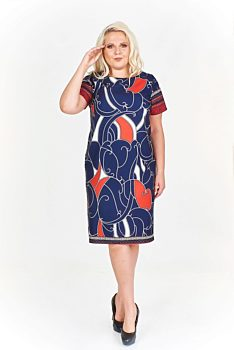 Novinka -15% Tmavě modré šaty s barevnými vzory Filloo Marcia 43a10a7abe5