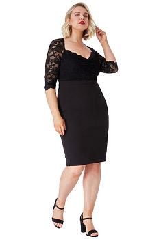 Černé pouzdrové šaty s krajkou City Goddess Nella 870861f37e