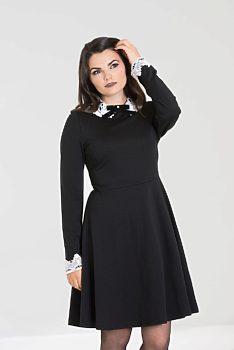 9275606efc6 Černé šaty s krajkovým bílým límečkem Hell Bunny Ricci