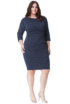 Modré šaty s bílými puntíky City Goddess Bea 22de224030