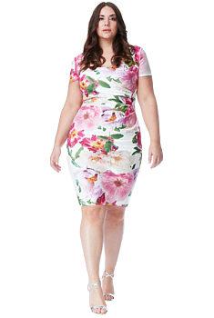 93338786bb3 Pouzdrové šaty s růžovými květy City Goddess Caroline