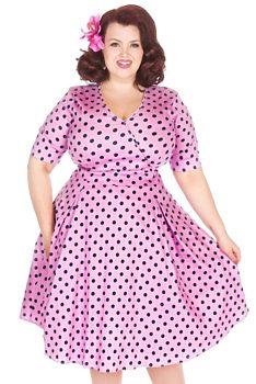Růžové šaty s modrými puntíky Lady V London Estella a439537405