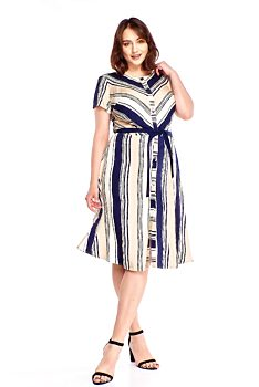 4c01d2449 Novinka Šaty s modrými a béžovými proužky Examida Alla