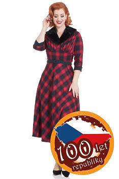 801b407c57e Tartanové červené šaty s kožešinovým límcem Voodoo Vixen Lola