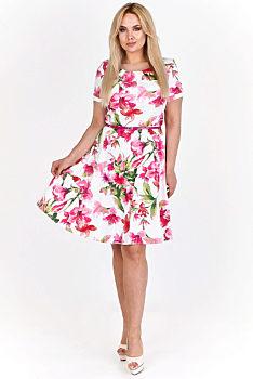 073234e64f16 Novinka Bílé šaty s růžovými květy Milano Moda Feiko