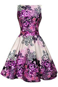 37553242538 Fialové šaty s květy Lady V London Tea