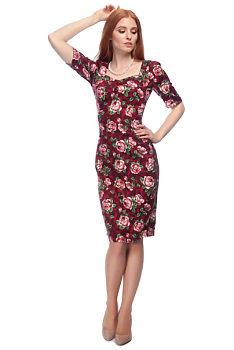 f9be23bc163d Pouzdrové šaty s květy Collectif Dolores vínové