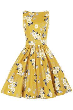 c01acd75087 Žluté květované šaty Lady V London Tea