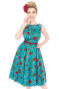 42e54d910d3 Tyrkysové šaty s růžemi Lady V London Audrey