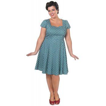 27389befe4f Tyrkysové šaty s puntíky Dolly and Dotty Claudia