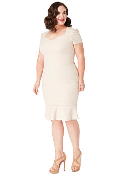 -19% Béžové pouzdrové šaty se třpytkami City Goddess Camelie bf6eb144e6