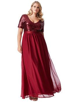 37f36b7b2ec5 -20% Bordó dlouhé šaty s flitrovaným živůtkem City Goddess Batma